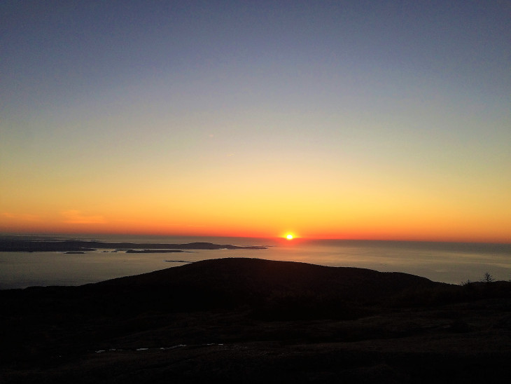 SUNRISE FROM ATOP CADILLAC MOUNTAIN, ACADIA NATIONAL PARK. GOES WELL WITH COFFEE.