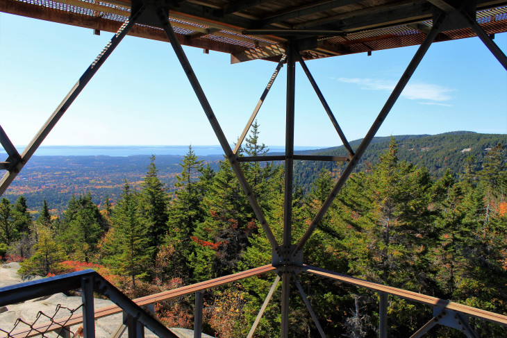 VIEW OF LONG POND FROM THE FIRE TOWER ATOP BEECH MOUNTAIN. IF LOOSE METAL STEPS THAT YOU CAN SEE THROUGH ARE AN ISSUE, AVOID CLIMBING THE TOWER.