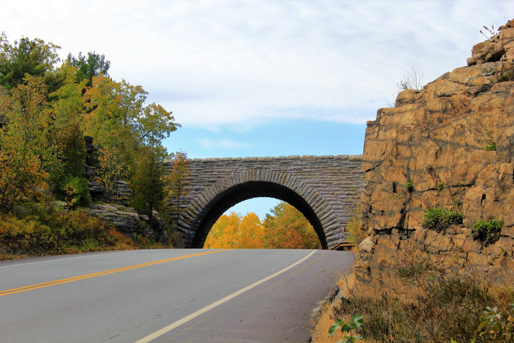 ONE OF ACADIA'S SIGNATURE CARRIAGE ROAD BRIDGES. JOHN D. ROCKEFELLER, JR. BUILT THE 45 MILES OF CRUSHED STONE ROADS BETWEEN 1913 AND 1940. THANKS JOHN.