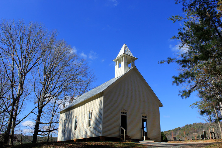 METHODIST CHURCH, ESTABLISHED IN 1820'S, REBUILT IN 1902. THE CIVIL WAR DIVIDED THE CONGREGATION AND ANOTHER CHURCH WAS BUILT ON THE OPPOSITE SIDE OF THE COVE.