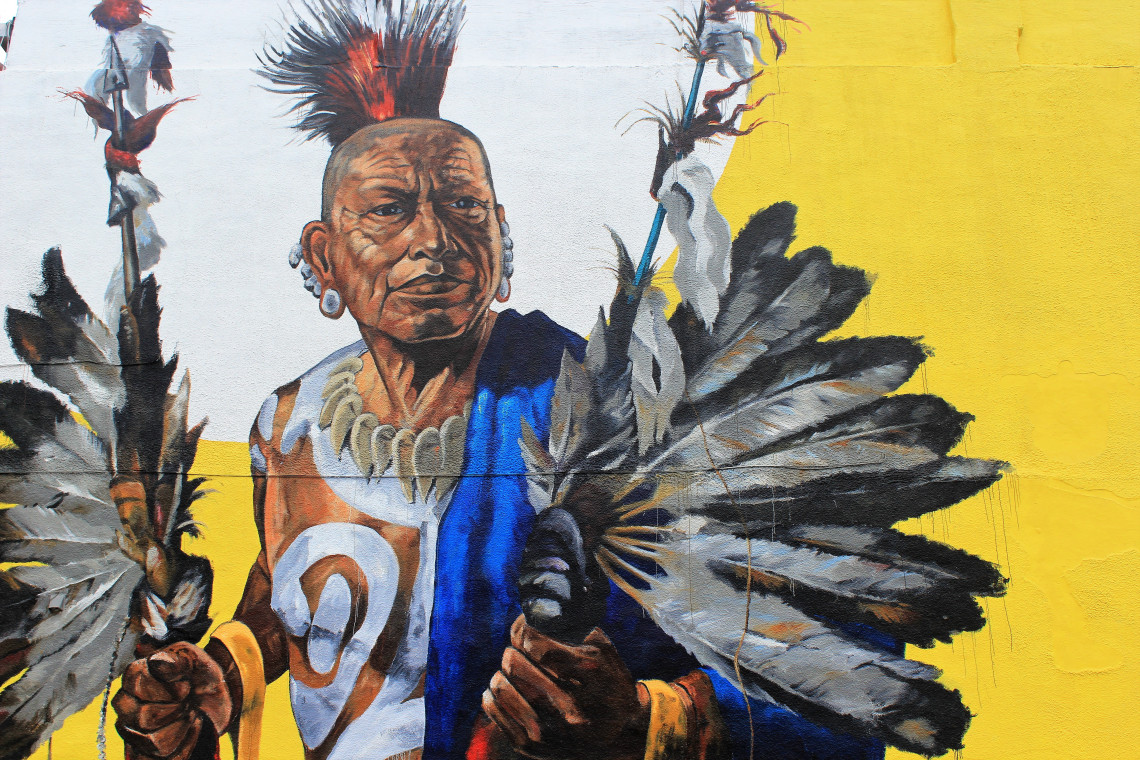 Artist Giuseppe Percivati, of Turin, Italy painted this mural depicting a member of the Quapaw tribe, covering the entire side of a building – about 40 feet high.