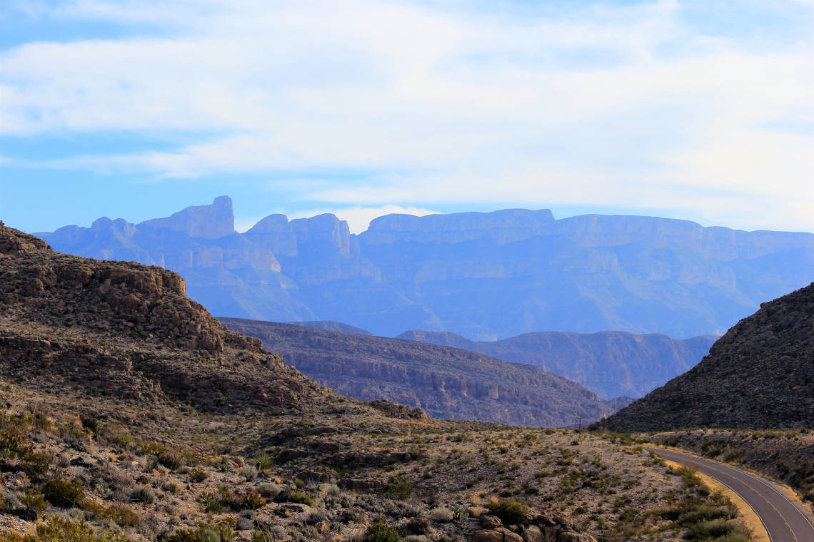 Ross Maxwell Scenic drive – looking at the western side of the Chisos Mountains.