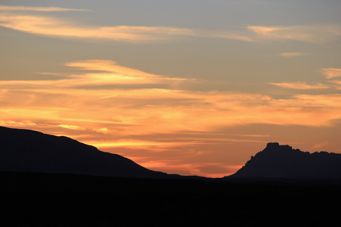 Sunset over a gap in the Chisos.