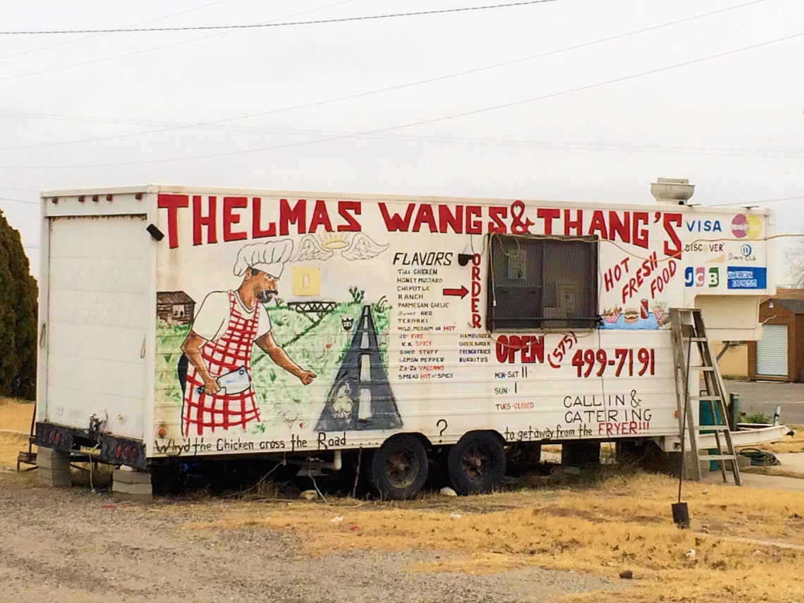 On the outskirts of Carlsbad, New Mexico I found this culinary gem.  I had the wings and the thangs. I probably should have asked what the thangs were.