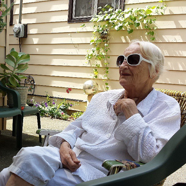 Granny in her element on Aunt Jo Ann's patio in Paw Paw, Michigan. August 3, 2013.