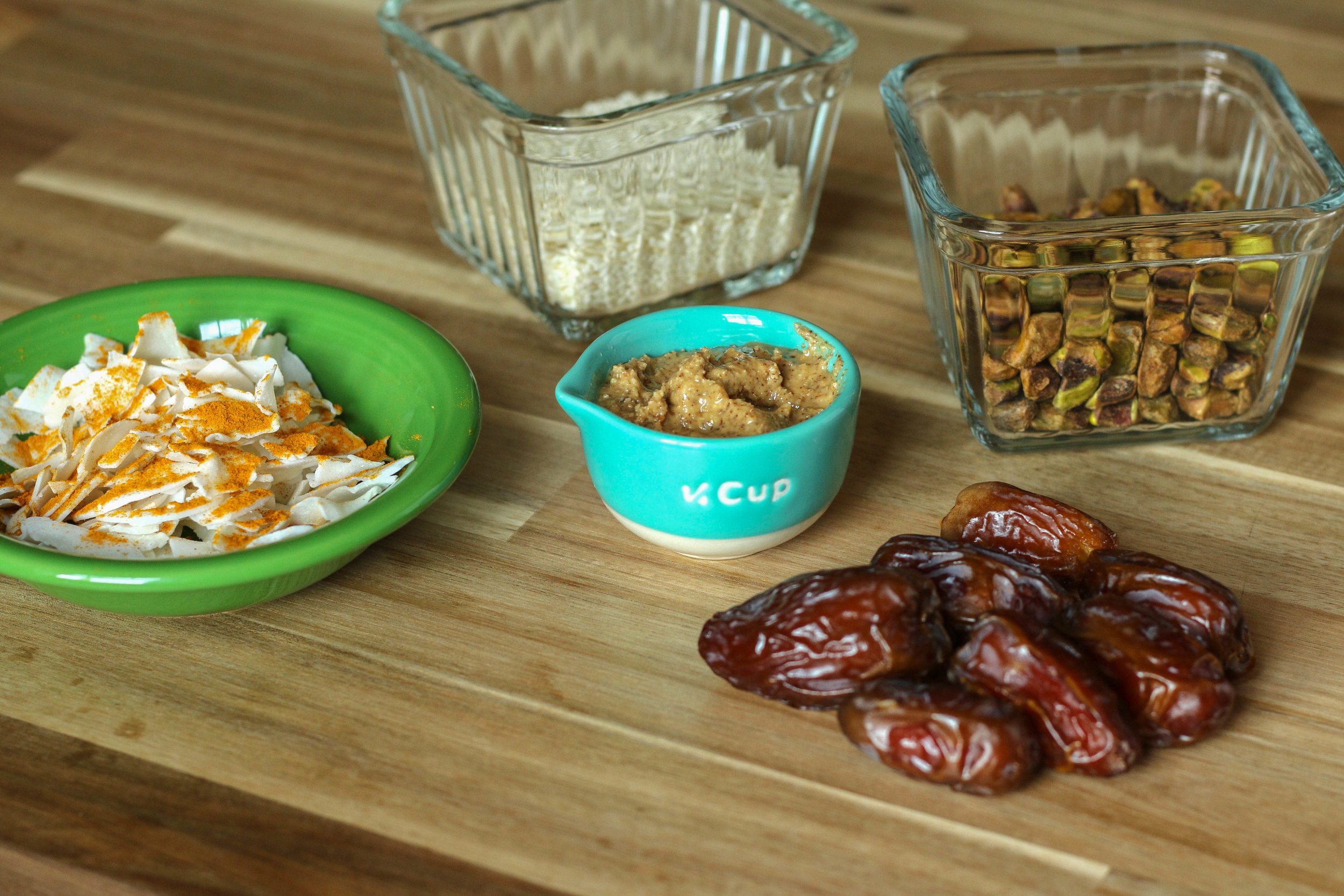 A note on dates : When blending large quantities, try your best to find 'fresh' medjool dates. You can tell if they feel  soft and pliable , vs hard and dried out. The soft texture will allow them to blend easier AND yields the best texture for the energy balls!