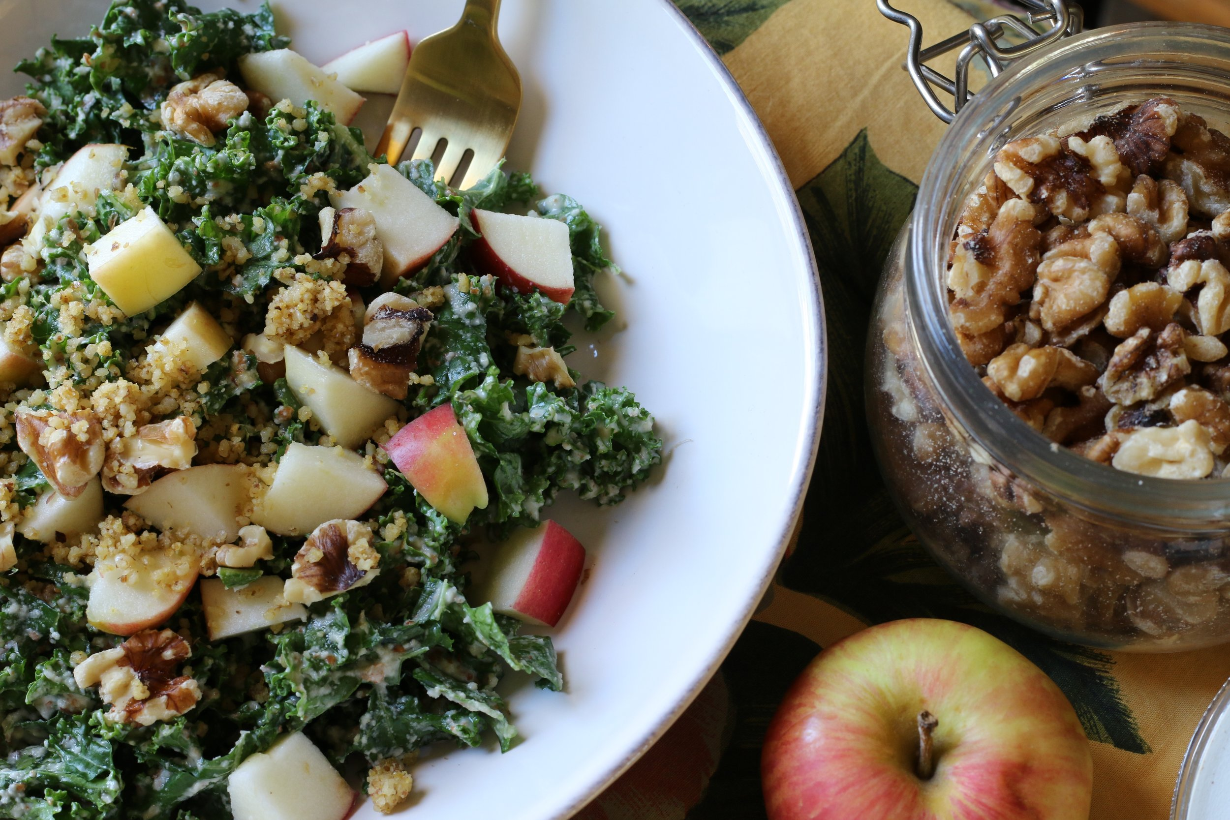 Kale Salad with Almond Ginger Dressing