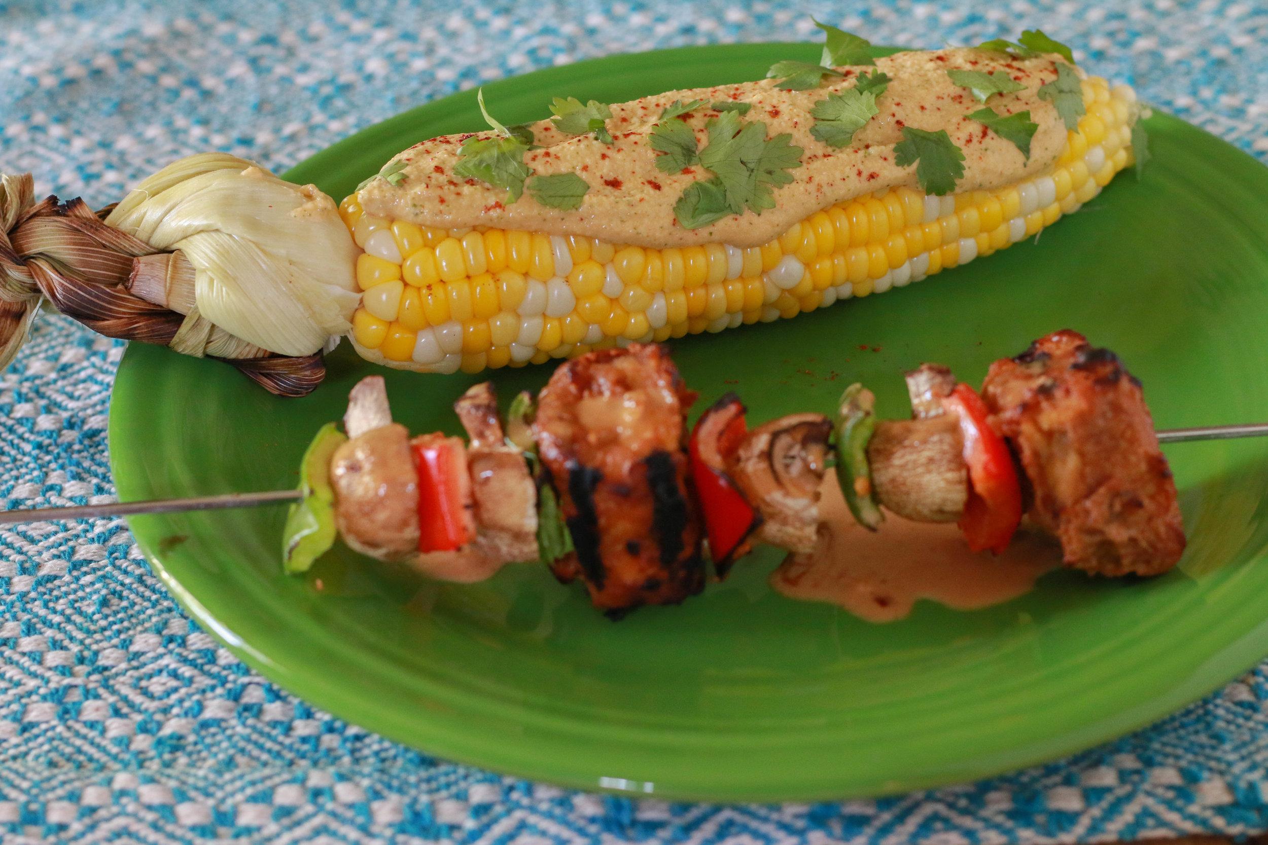 Tempeh Veggie Kabobs with peanut sauce! Recipe coming soon!