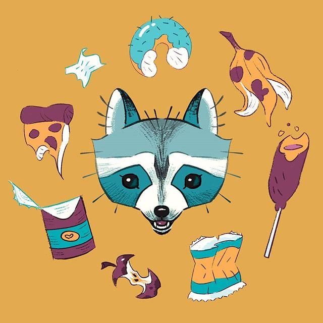 She's a trashy, classy lady . . . #trash #trashpanda #trashy #raccoon #garbage #animals #art #drawing #illustrationgram #illustration #artistsoninstagram #digital #digitalart