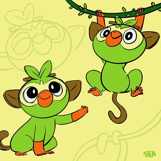 This little pal brought me back to Instagram!!! Hello!! 🐵😍🐒 Swipe ⬅️ to get grookied. #Grookey #PokemonSwordandShield #whydidimakethis #giveusthisevolution