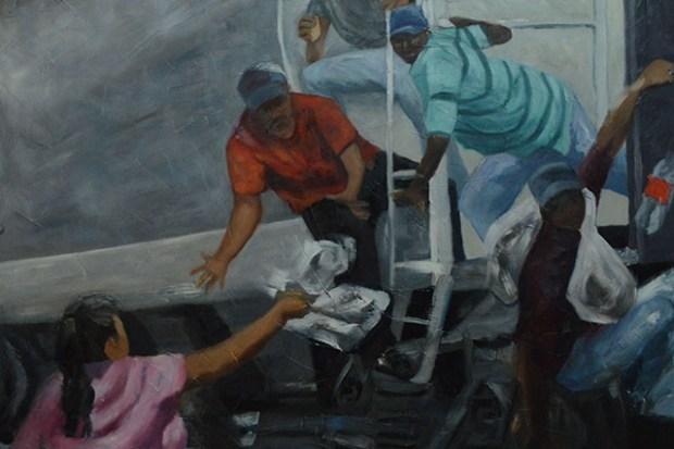"""""""La Bestia"""" oil on wood panel, 130x130cm"""