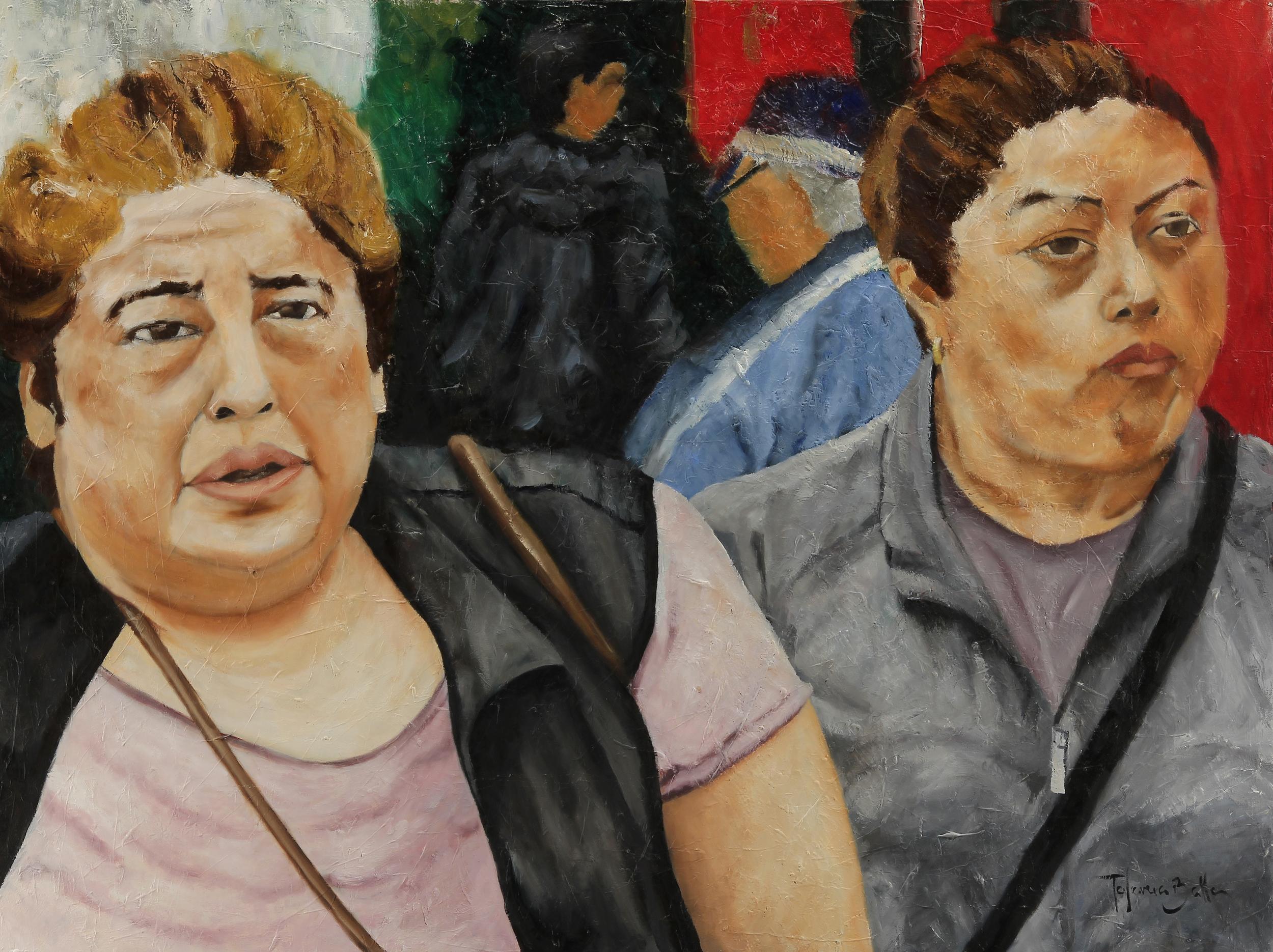 """ Caminando  Como Siempre"" Oil on wood panel 36"" x 48"""