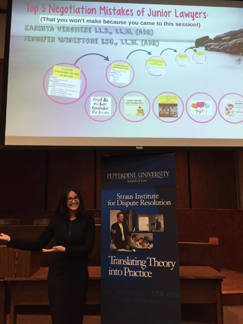 """Jennifer Winestone and Karinya Verghese give presentation at Pepperdine University School of Law on the """"Top 5 Negotiation Mistakes of Junior Lawyers""""  - March, 22, 2016, Translating Theory into Practice Series"""