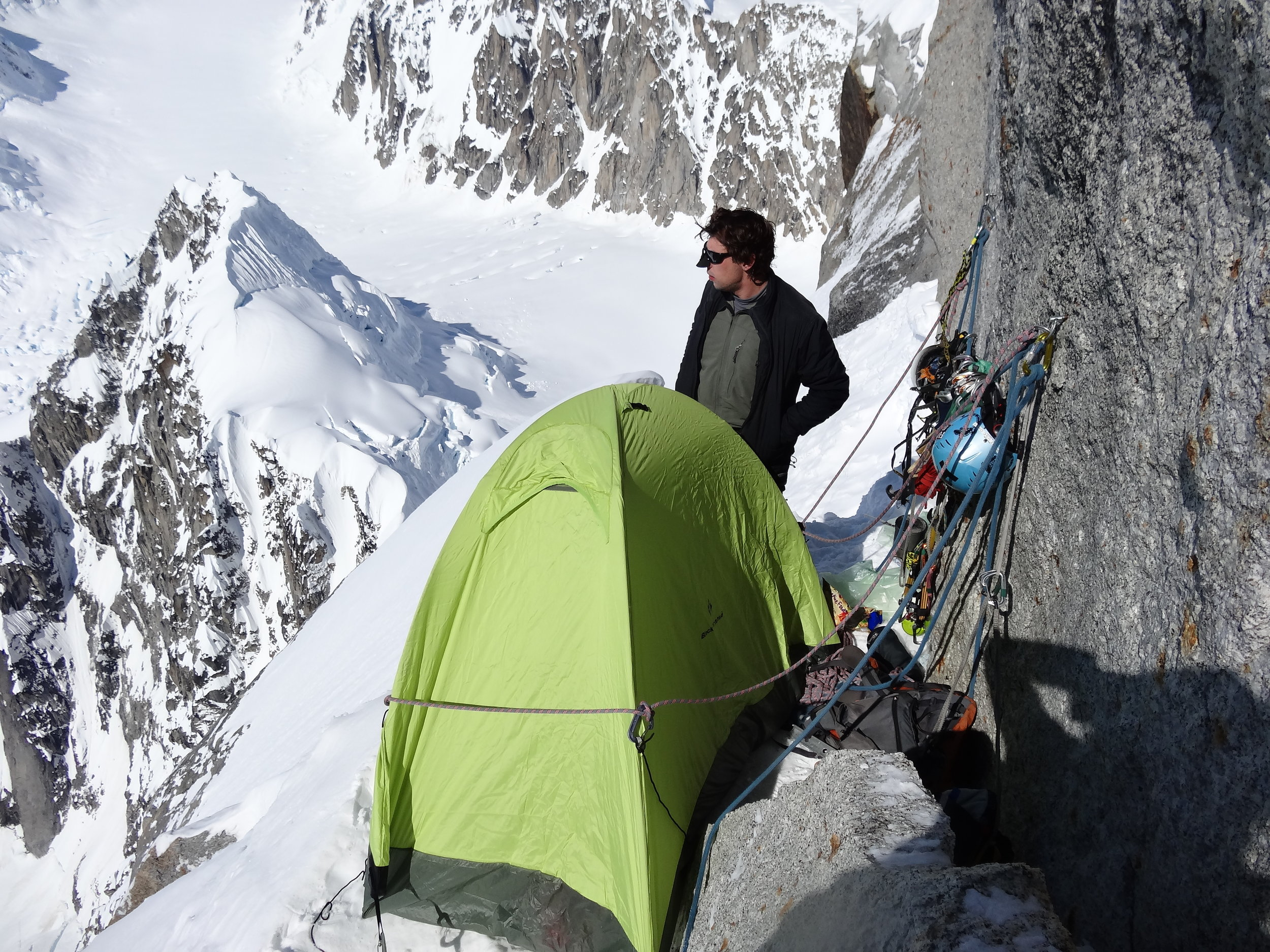 Stanislav Zinkov on Harvard Route, Mt. Huntington, Alaska Range.