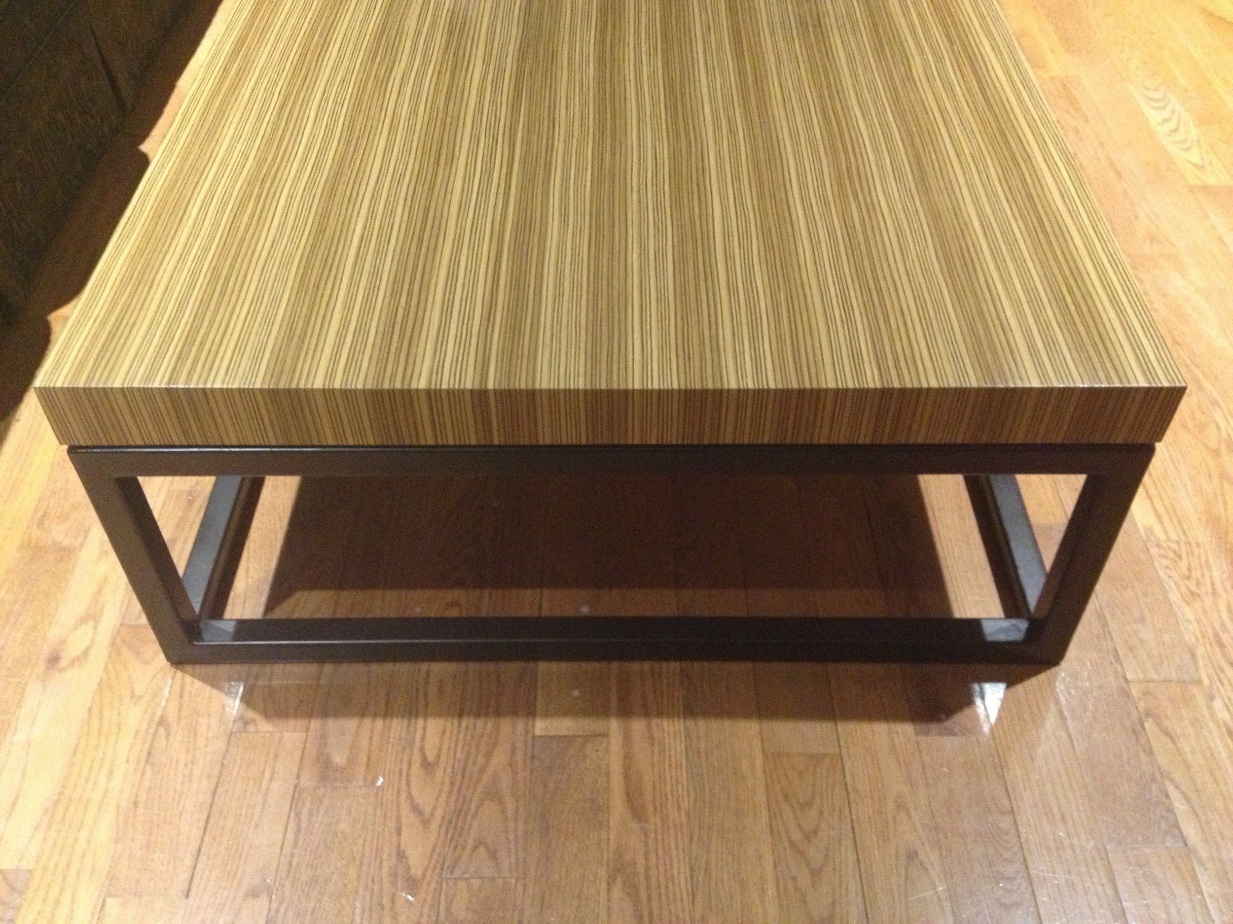 zebra wood top with oil rubbed bronze metal base.JPG