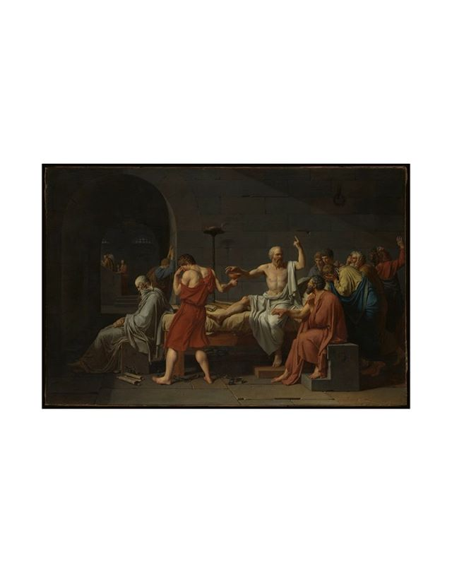 "Jacques-Louis David, ""The Death of Socrates"" (1787)  Kicking it off. Step 1: LOOK AT IT.  The first step of any visual analysis is basically a game of I/Eye (which one?) spy. We're going to go nuts here and still not pick up all of the crumbs, but this is just to warm us up and make sure we're not intimidated to yell out everything we see.  I could have spent two months reading 1/80 of the academic articles written by art historians who have dedicated their lives to thinking about this painting, then regurgitated it to you. But that's not the point of SUBTTLD. I have to go through the same process as you, stepping into a gallery, confronted with a work, vulnerable, just reading the hell out of it. No fear.  Over the week I will bring two more steps - one will look at a theme brought up by the work and the final step will be applying it to our world, drawing topical usefulness from it. After having zero feelings about this work, the process of creating these stories has really made me love it and what it represents for me. So, jumping into this SUBTTLD rabbit hole, I hope you find artworks that spark (joy?) something for you."