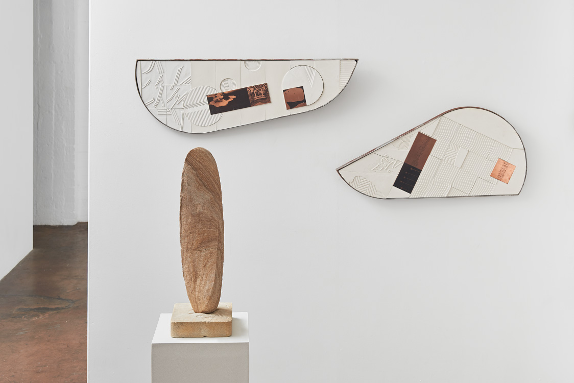Tarik Ahlip:   Woomera  , 2016, Plaster and copper on structural plywood with steel frame   Black England  , 2016, Plaster and copper on structural plywood with steel frame   Neurological Pathways to Love  , 2016, Sandstone
