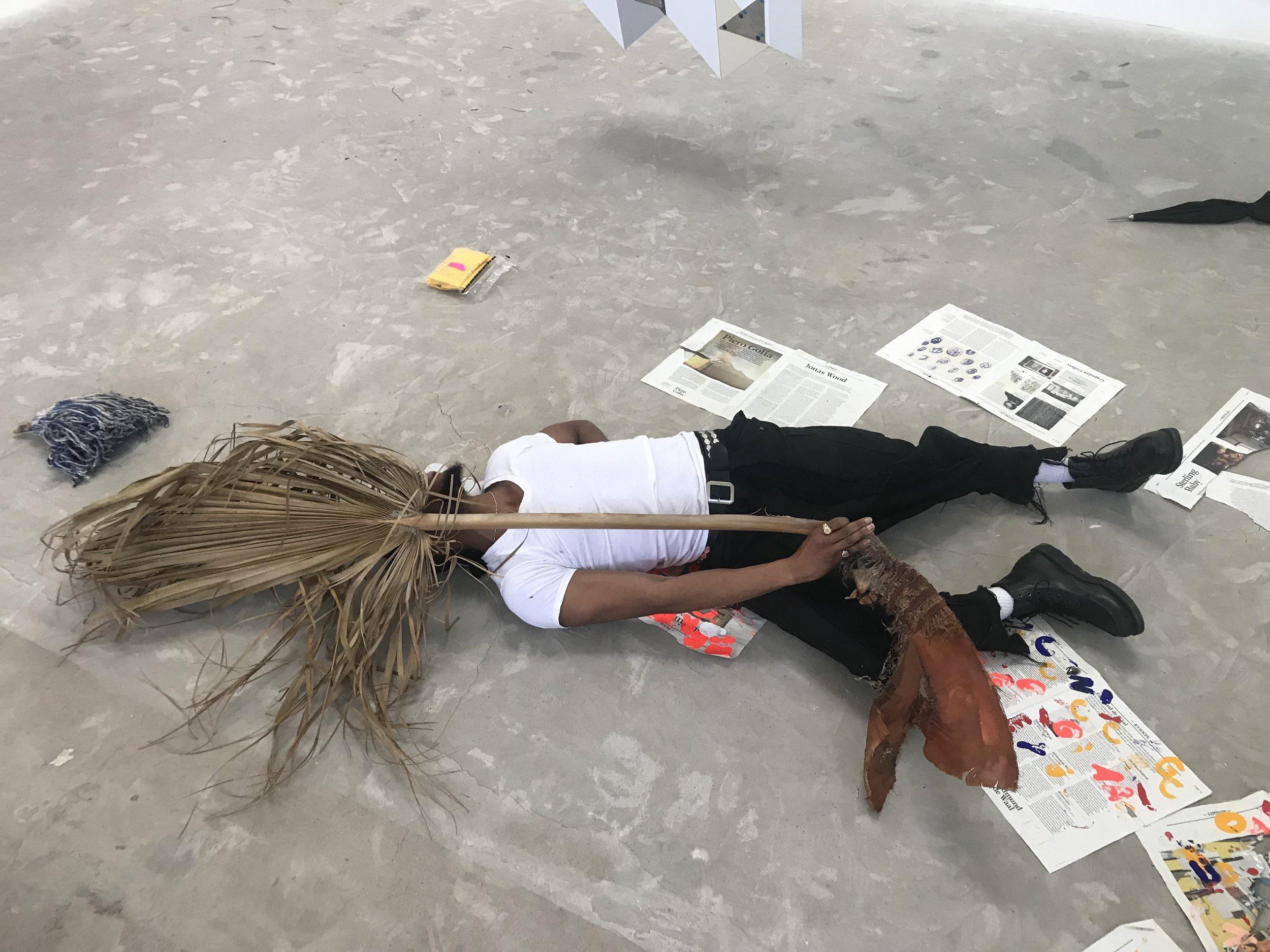 sweeping body across the floor