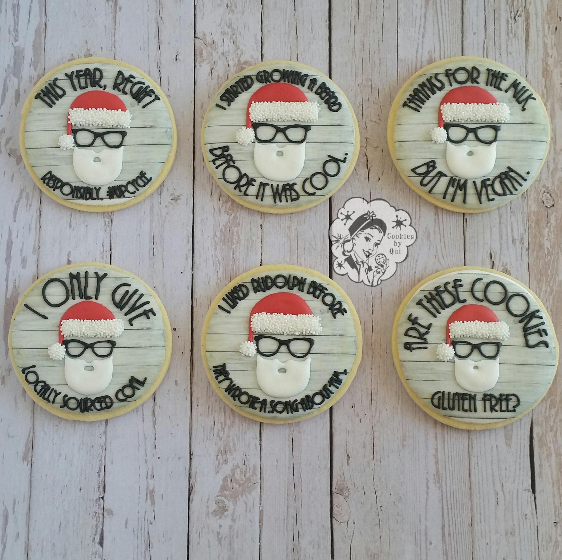 Hipster Santa Christmas Cookies - Cookies by Qui Geelong