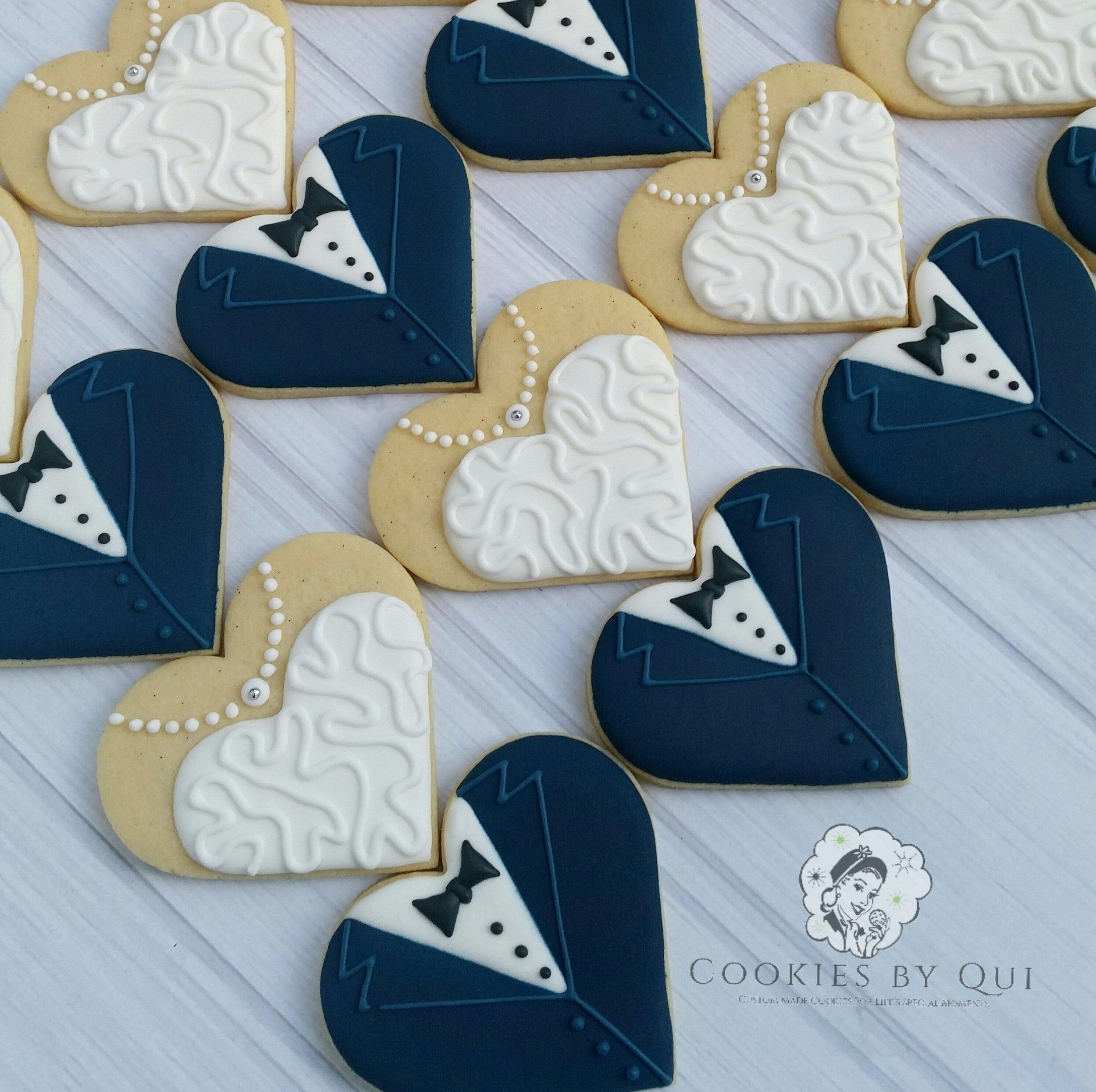 Classic Bride and Navy Groom Engagement Wedding Cookies - Cookies by Qui Geelong.jpg