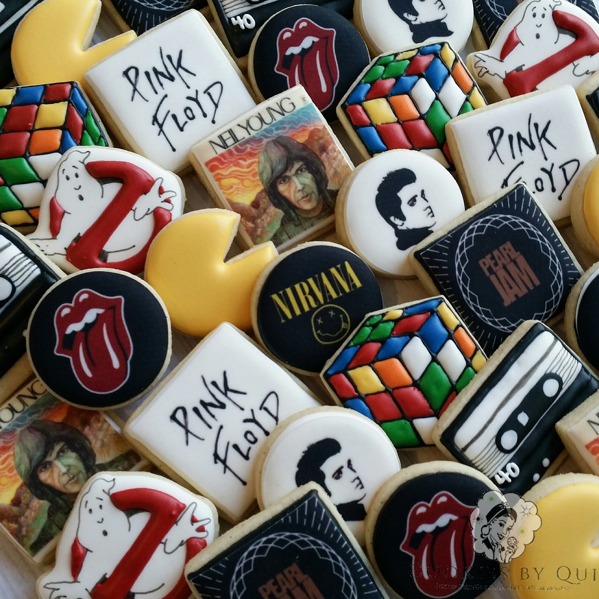 80's Themed Rock Nostalgic Birthday Cookies