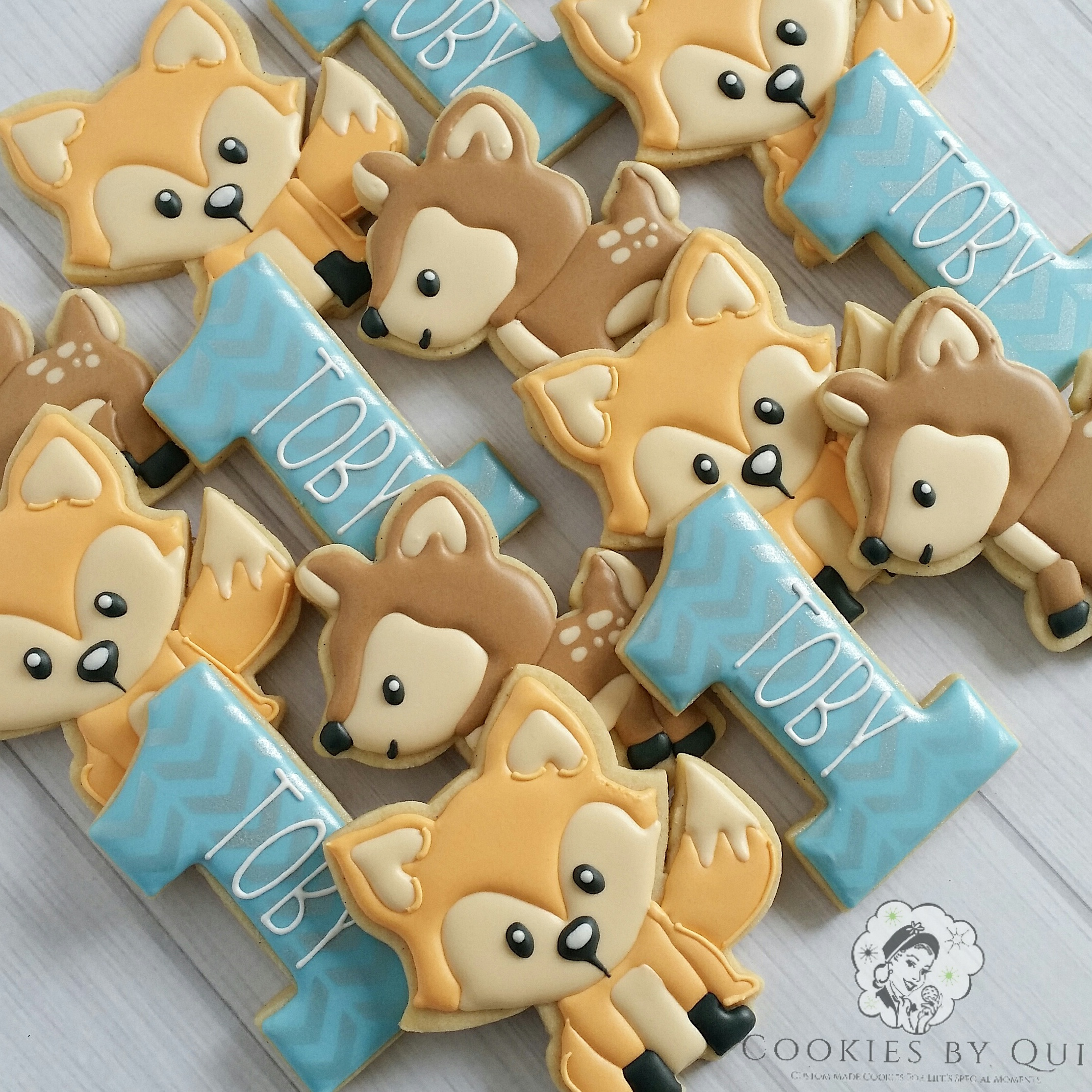 Woodland Boy 1st Birthday Boy Cookies