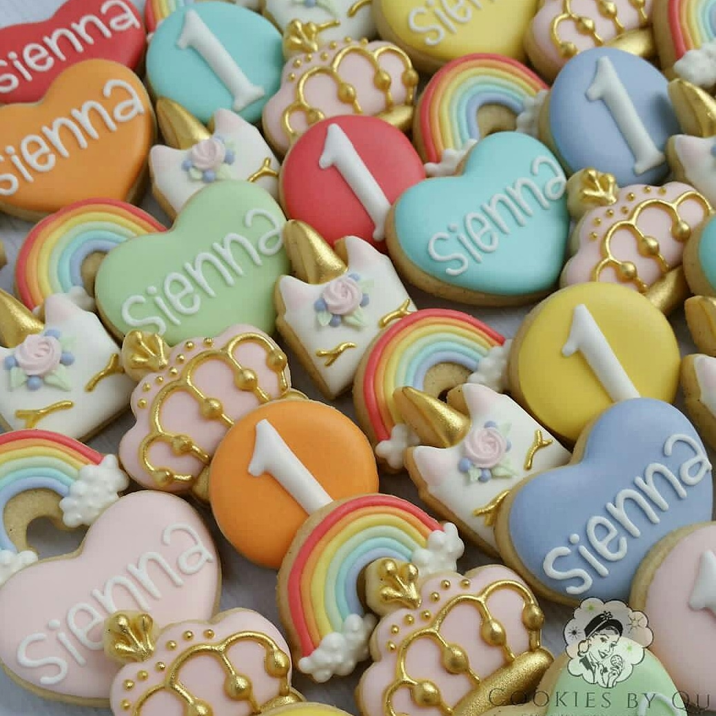 Pastel Princess Unicorn Birthday Cookies