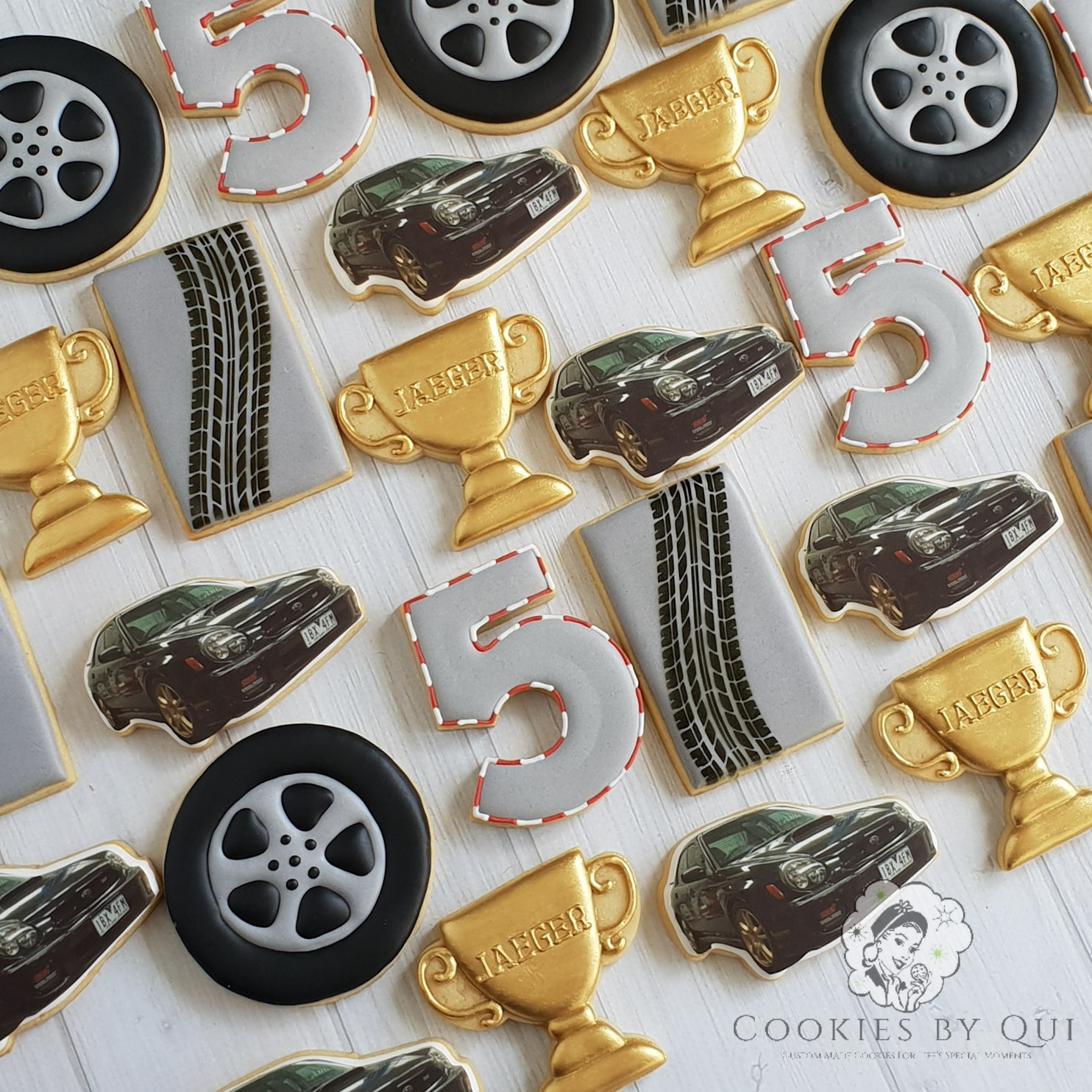 Mechanic Rev Head Adrenaline Car Go Kart Themed Birthday Cookies