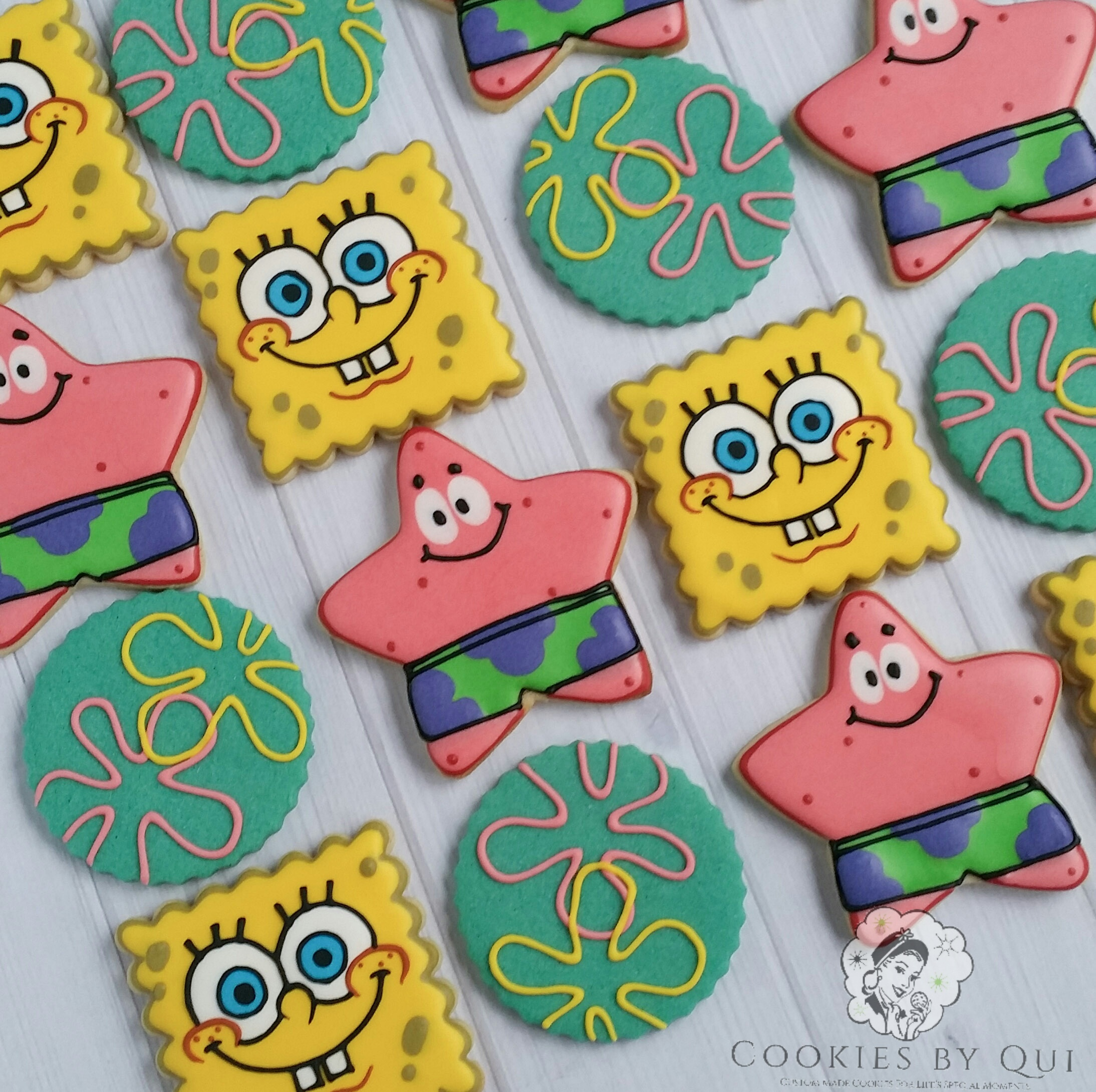 Spongebob and Patrick Bikini Bottom Themed Birthday Cookies