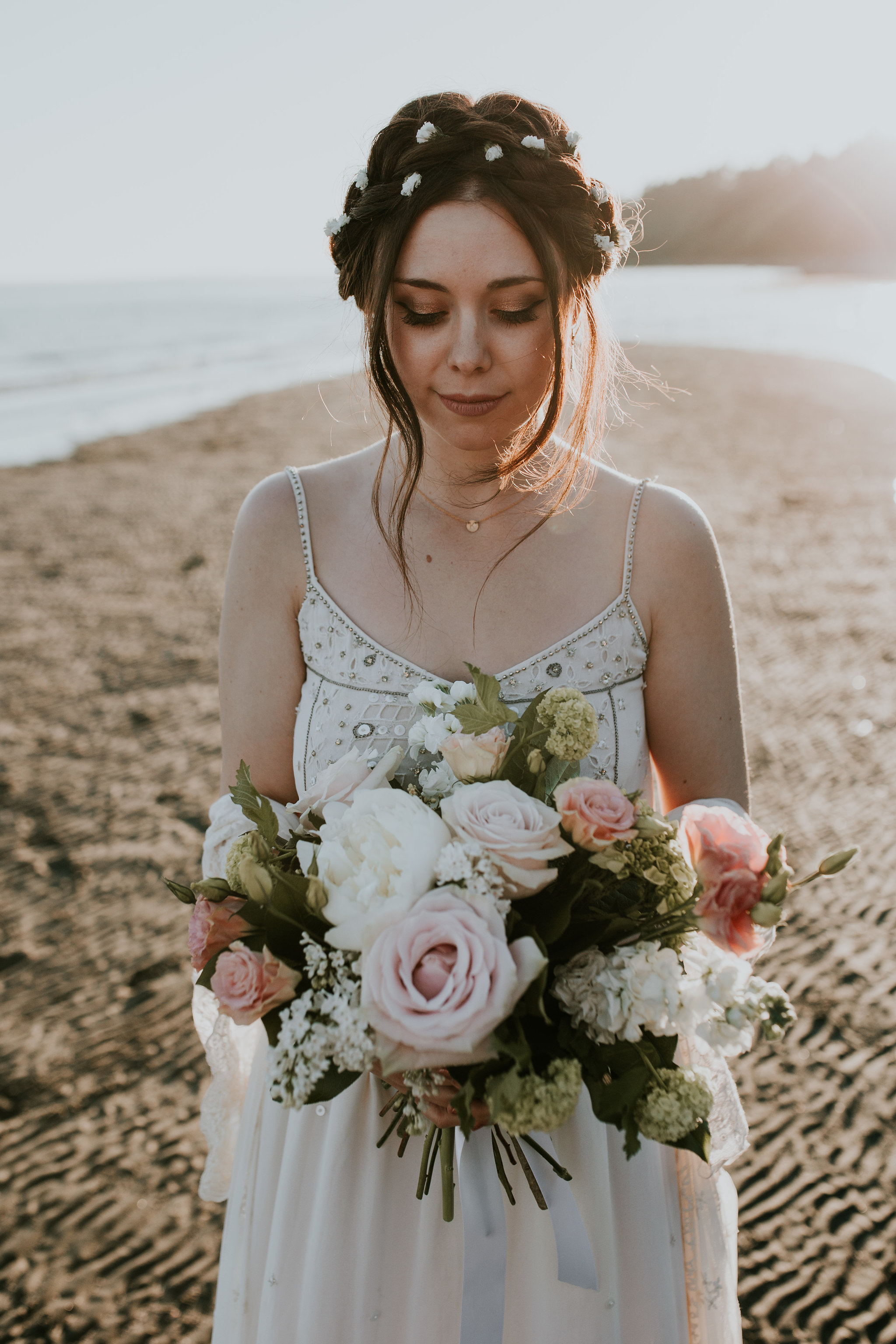 The dress, a thrift store find bought one week before her wedding, was the perfect fit for this beautiful bride.