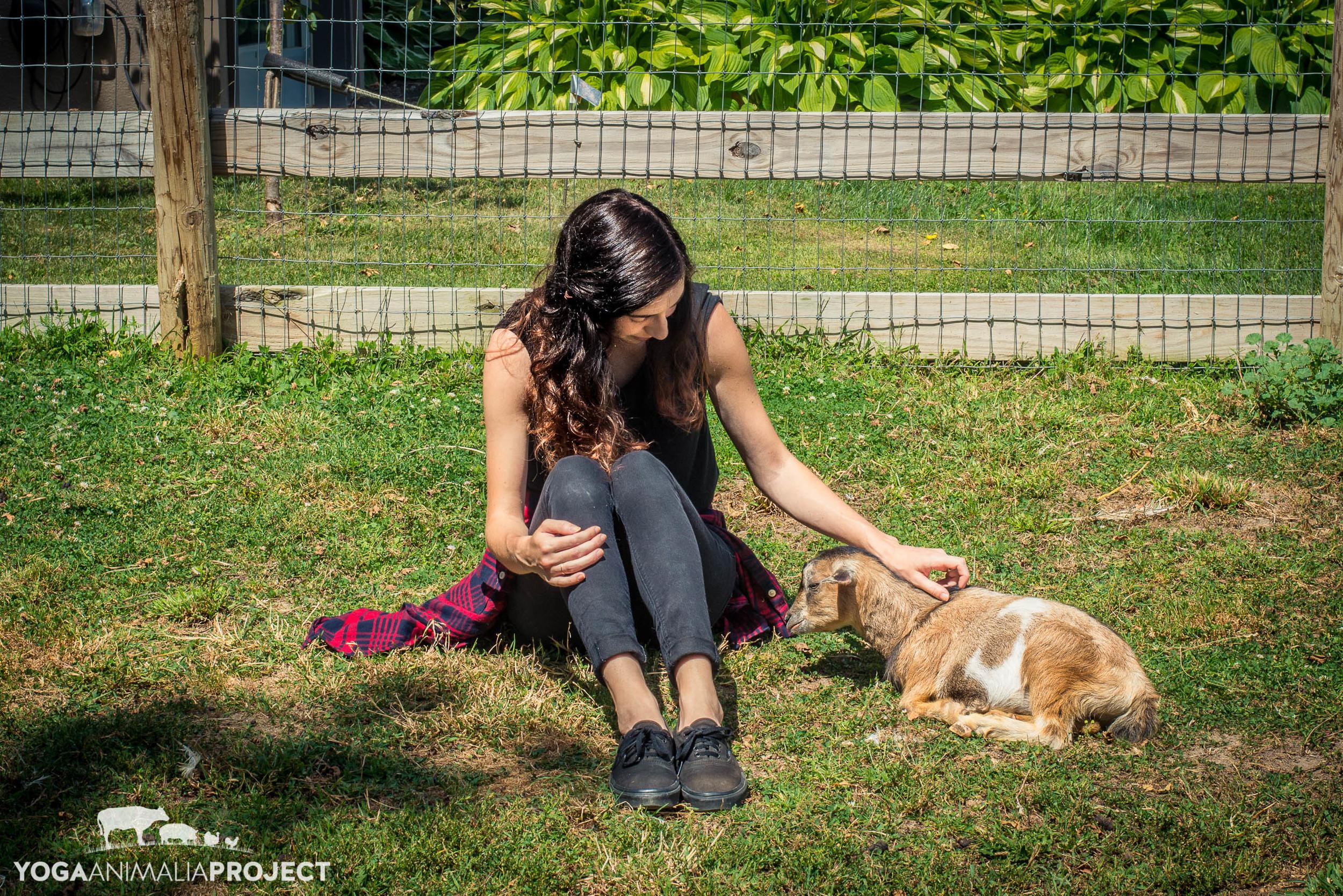 Avery with intern Alex, Farm Sanctuary, Watkins Glen, New York