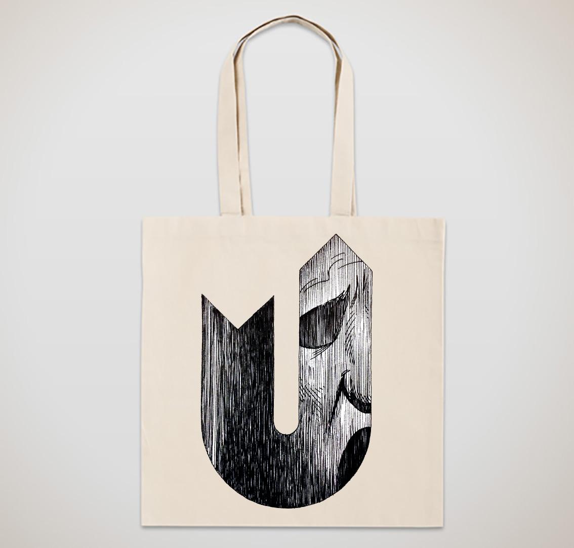 Øyvind Lauvdahls karakteristiske strek preger et begrenset opplag tote bags/ tøyposer som gis bort/ selges ifbm lanseringen av Ontography, a catalogue (of being!) 1,2,3