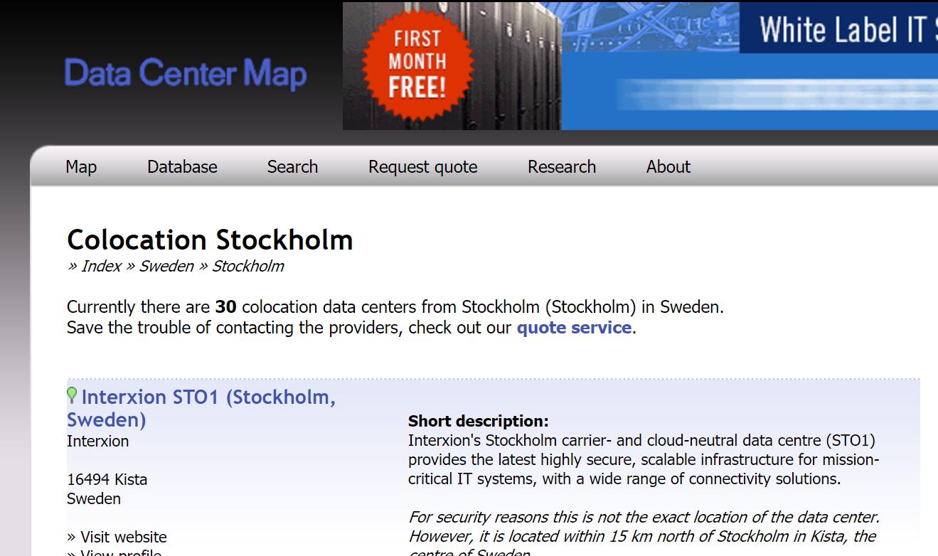 http://www.datacentermap.com/sweden/stockholm/