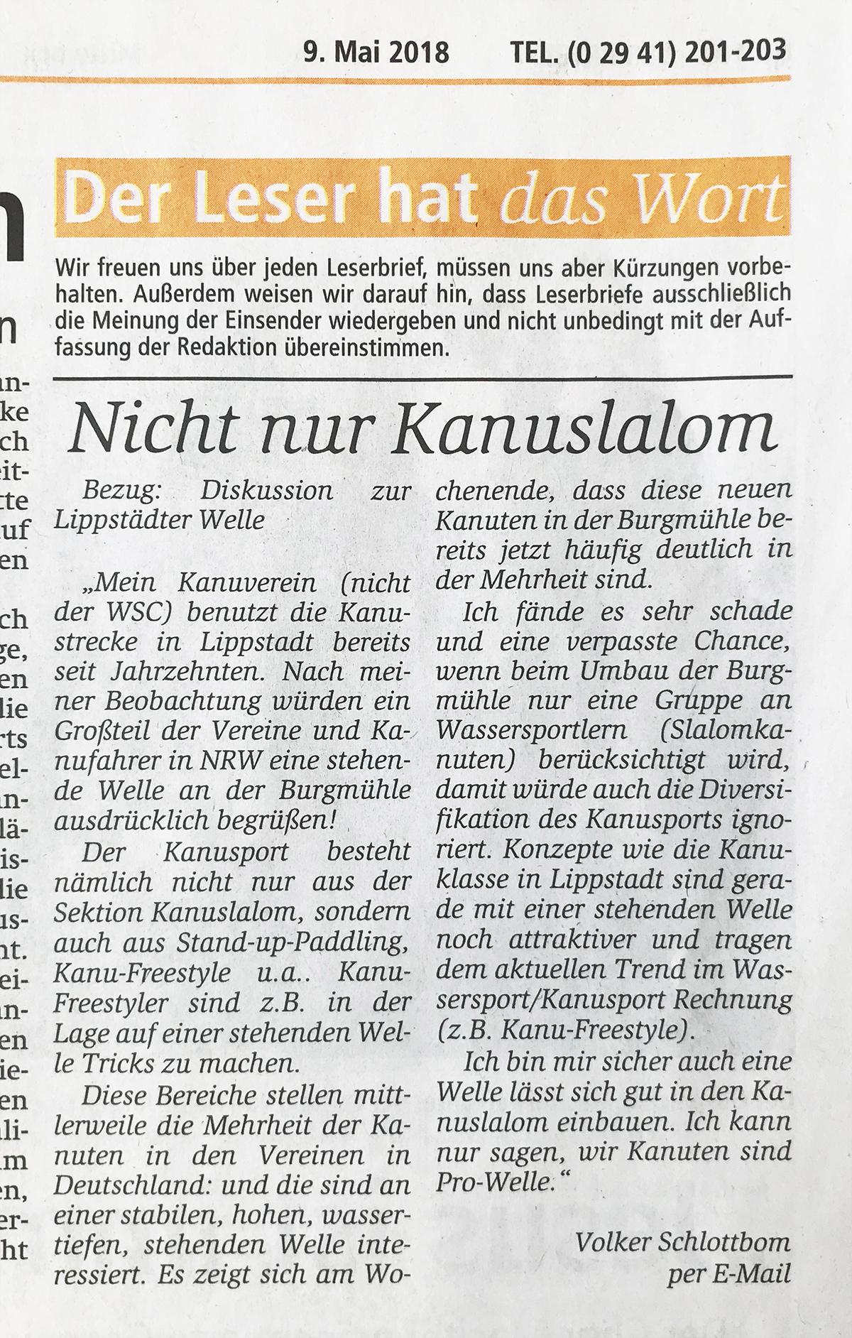 aus Zeitungsverlag Der Patriot / Ausgabe Mittwoch, 9. Mai 2018