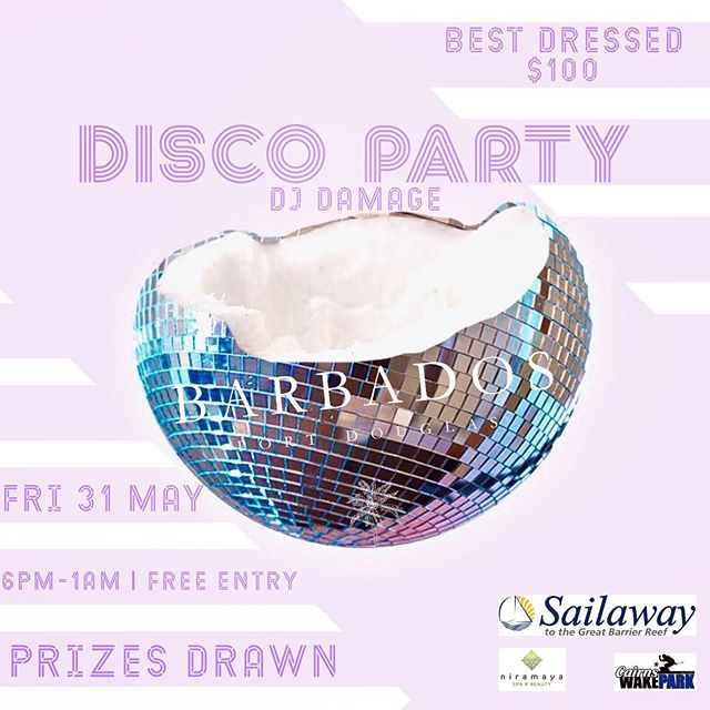 💜 D I S C O  P A R T Y 🕺 FRI 31 MAY '19 ☮️ 6PM DOORS OPEN 🔮 DJ POSTIE 🎆 PARTY | DANCE | EAT | DRINK | WIN 🦄 PRIZES - @sailawayportdouglas  @niramayaspa  @cairnswakepark ————————————————————— #barbadosportdouglas #discoparty #martiniqueislandstyle #portdouglas #cocktailbar #marina #paradise #luxury #style #interiordesign #bar #restaurant #alcohol #food #wine #cocktails #champagne #travel #instatravel #barbadosstyle #crystalbrooksuperyachtmarina #greatbarrierreef #daintreenationalpark #discoverfnq #thisisqueensland #queensland #exploreaustralia #australia #home