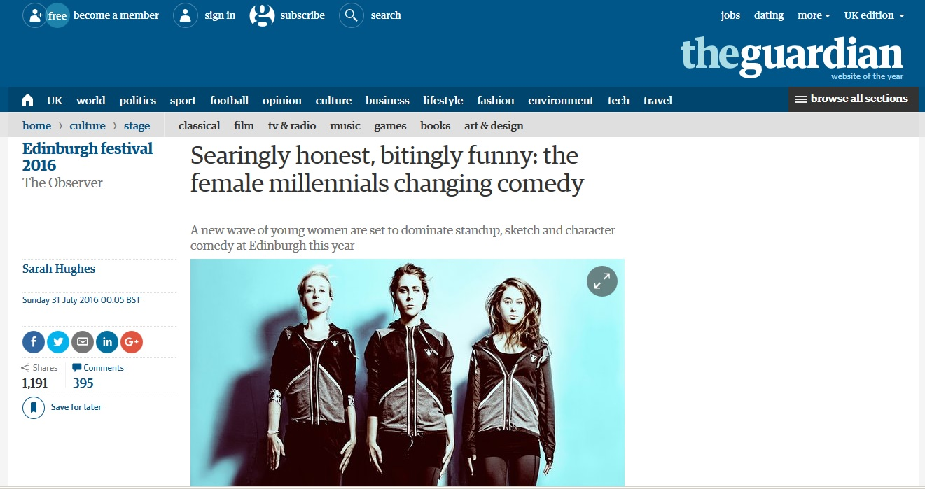 """Comedy sketch trio Massive Dad are among the new generation of female comedians 'smashing it'.""  (Full article here)"