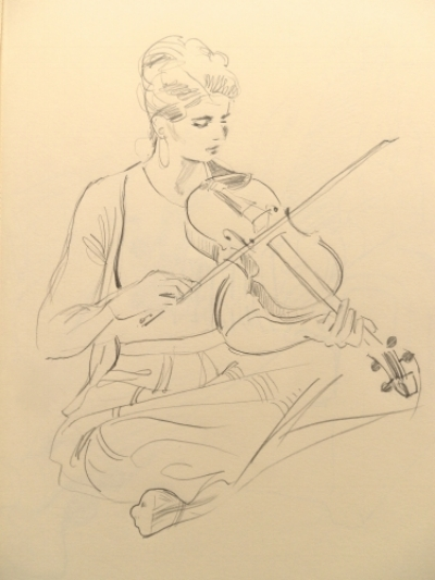 Folk musician playing fiddle