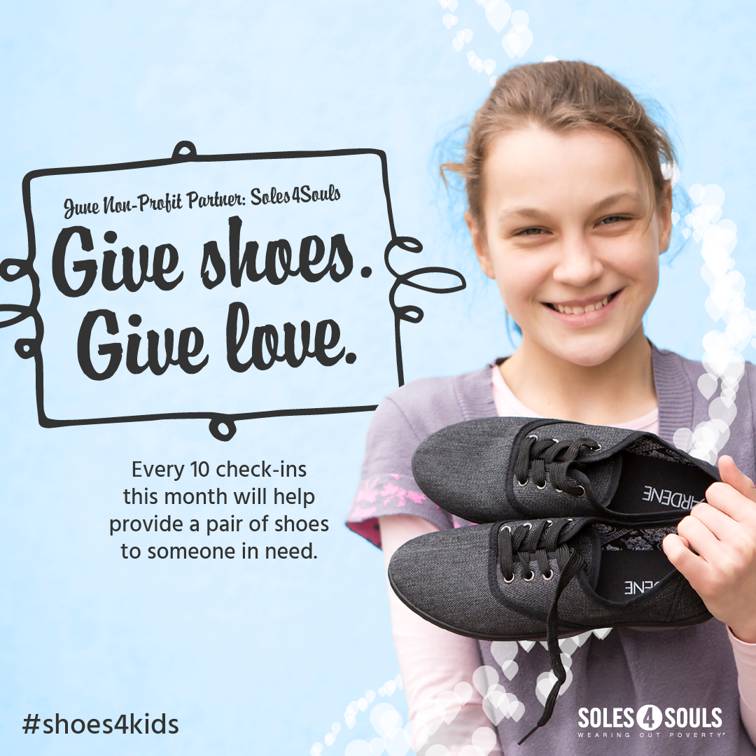 June 2017, every check-in at Steamtown Yoga will help provide a pair of shoes to someone in need. We're working with Causely and Soles4Souls to make it happen. You can add #shoes4kids when you check in. For more information about this month's charity, check out  www.soles4soulsi.org