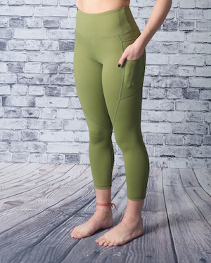 Olive Pocket Light n Tight Hi-Rise Capri 2 $59
