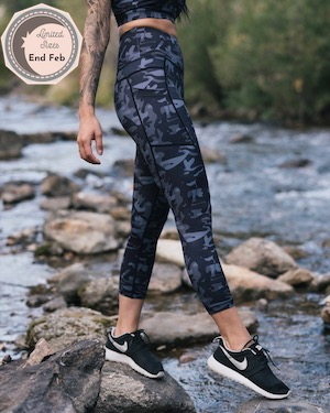 Black Camo Pocket Light n Tight Hi-Rise Capris 2