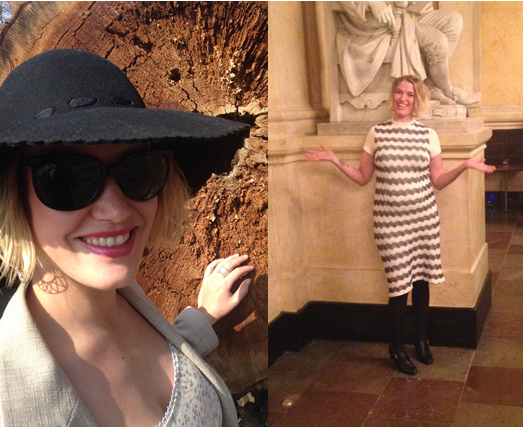Billede 1. Hat og solbriller er genbrug Billede 2. Kjolen er genbrug