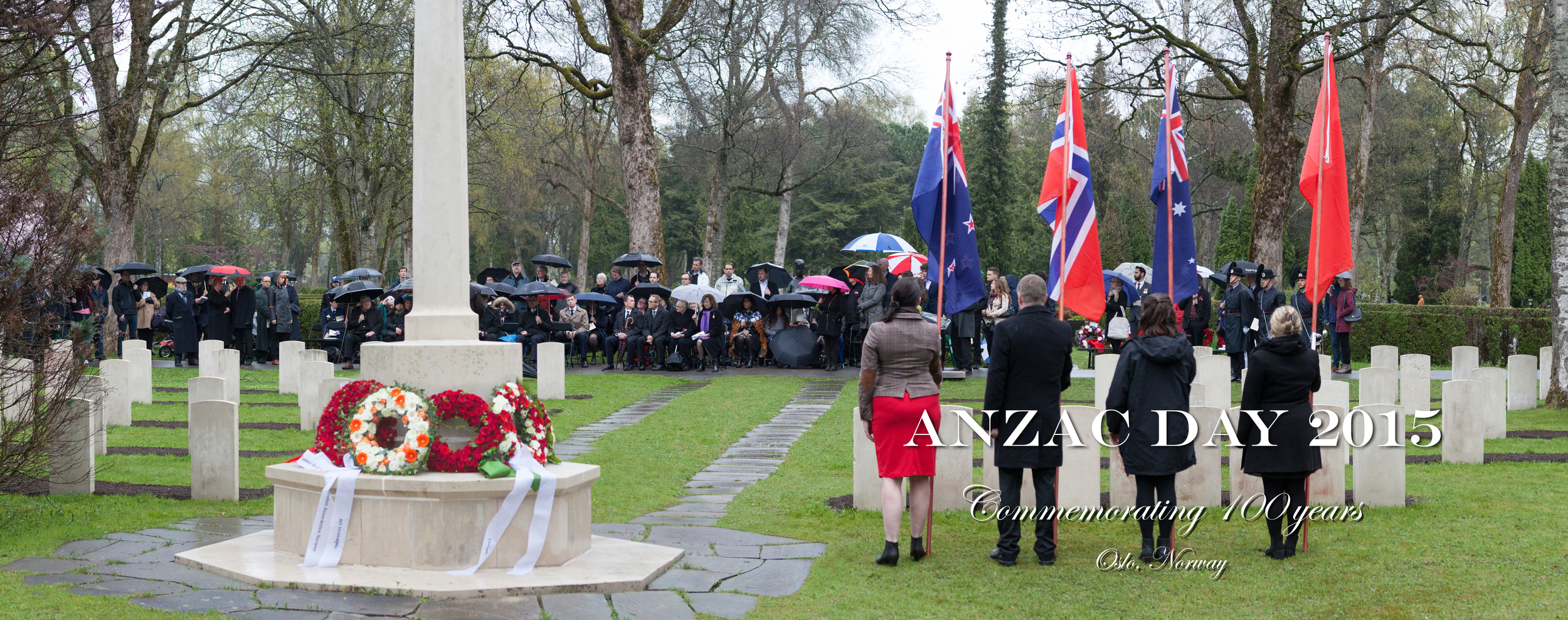 Citizens of New Zealand, Australia, Turkey and Norway gathered in Vestre Gravlund, Oslo to commemorate the 100th anniversary of ANZAC Day.