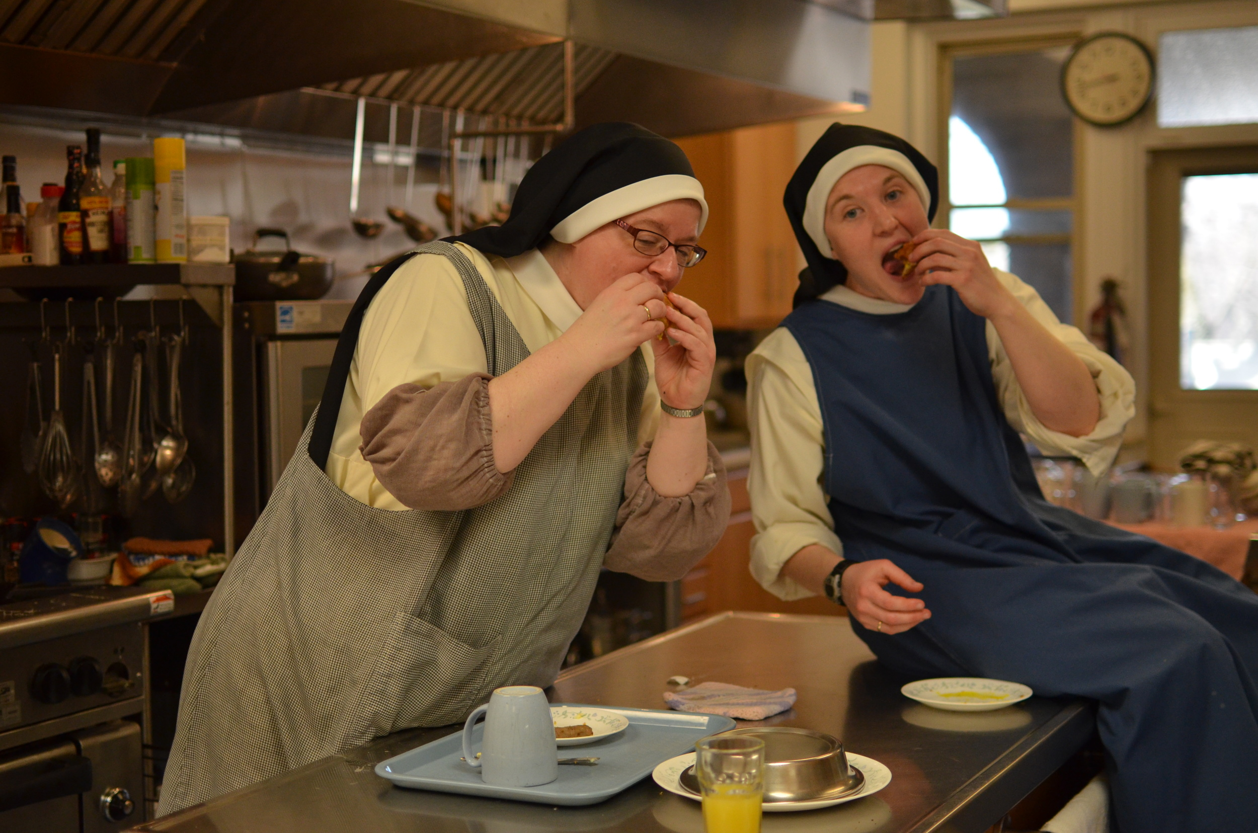 Sr. Judith Miryam and Sr. Mary Magdalene enjoy the delicious breakfast they cooked for us!