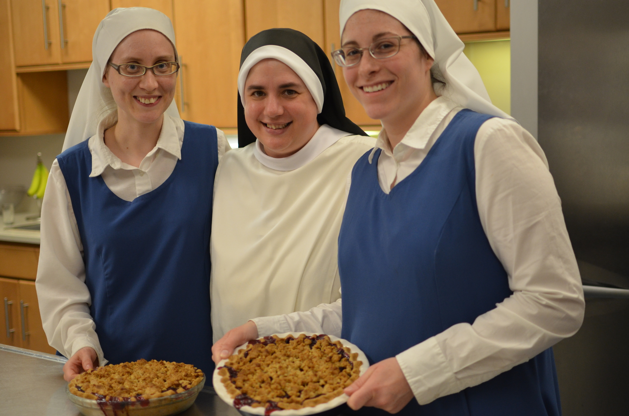 The sisters show off their fresh out of the oven Cherry Crumble Pies! Good job, Sisters!