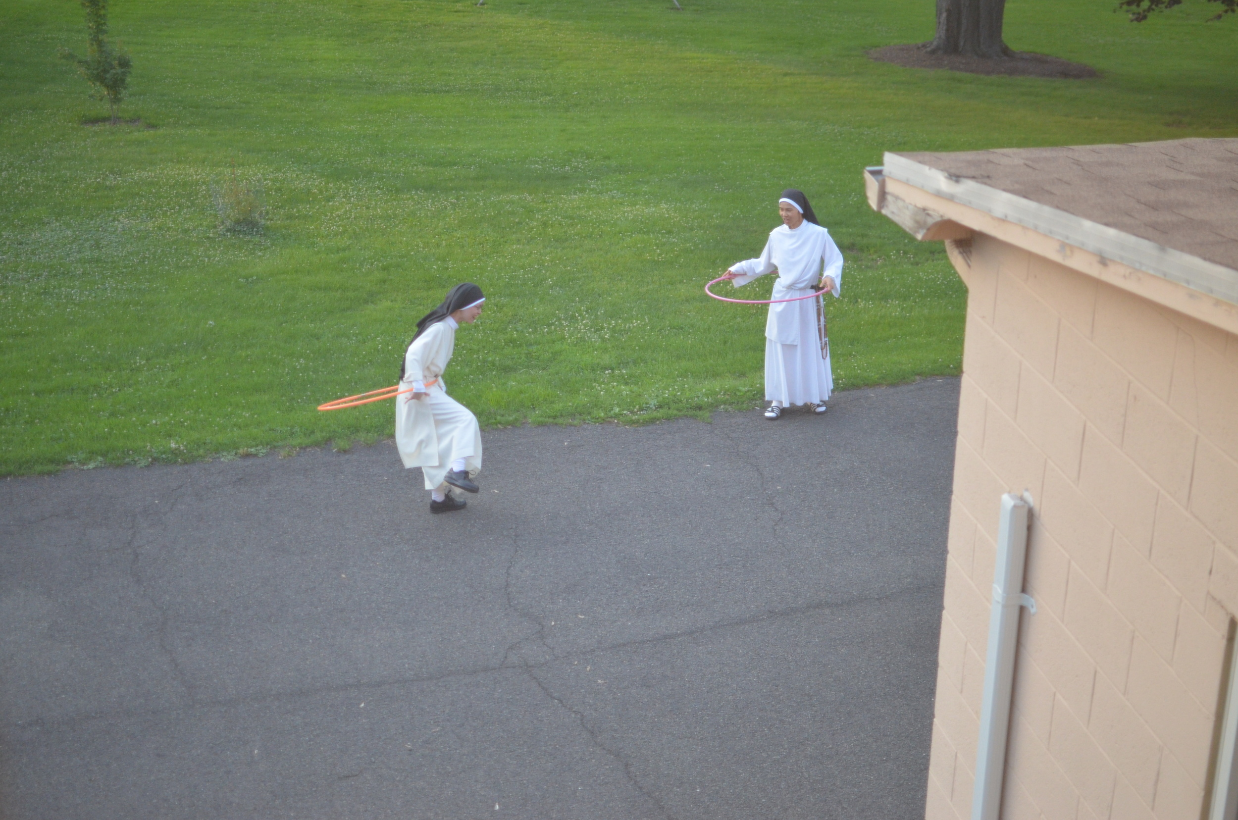 During recreation one night Sr. Marie Therese and Sr. Mary of the Angels discovered our hula hoops!