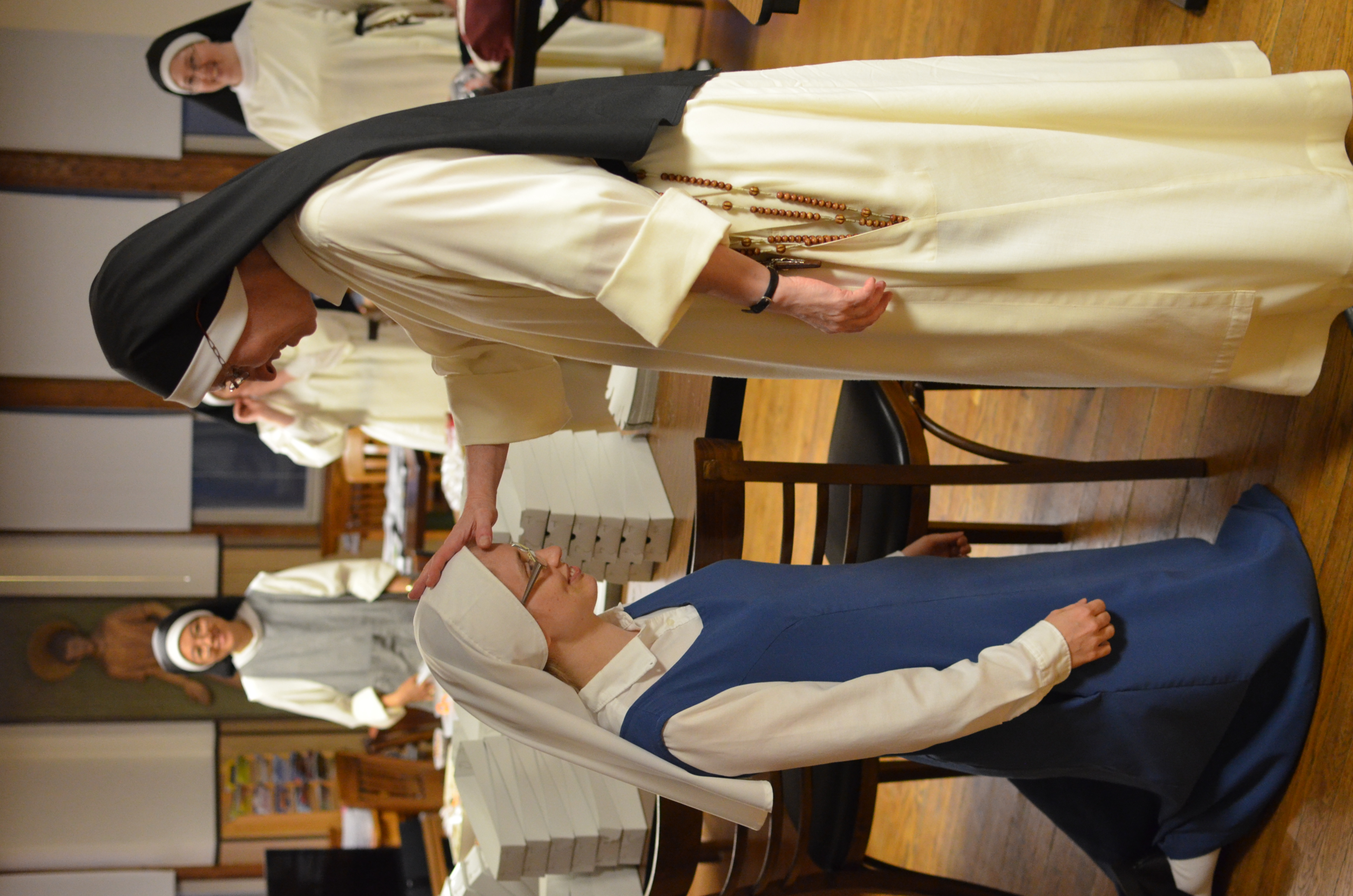 Sr. Maria receives the prioress's blessing prior to beginning her vestition retreat.