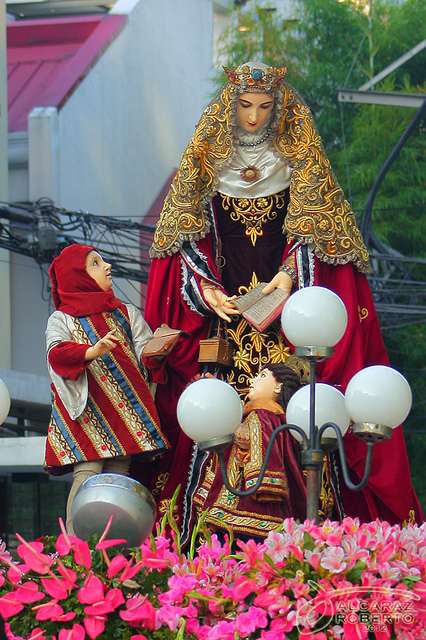 Bl. Juana with St. Dominic and his brother, Bl. Mannes (Procession of our Lady of the Rosary, Naval, Philippines)