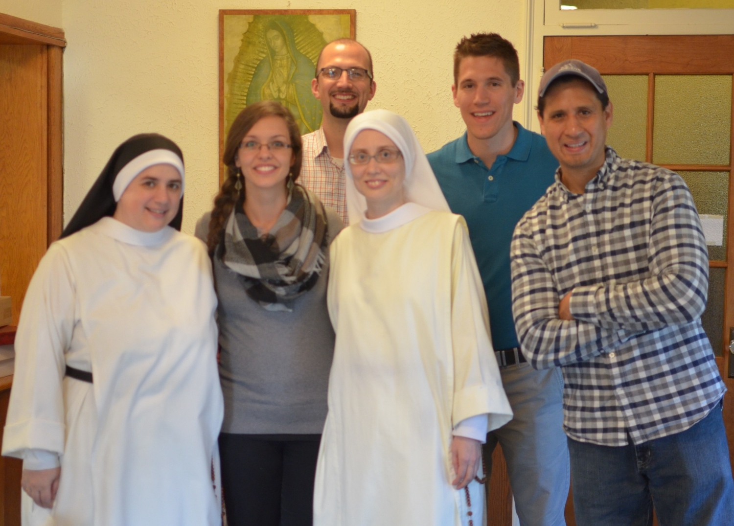 Sr. Mary Catharine and Sr. Maria Johanna with the crew of the 700 Club! L-R: Dustine Anderson, Heinrich, Jarrod Anderson and Victor.