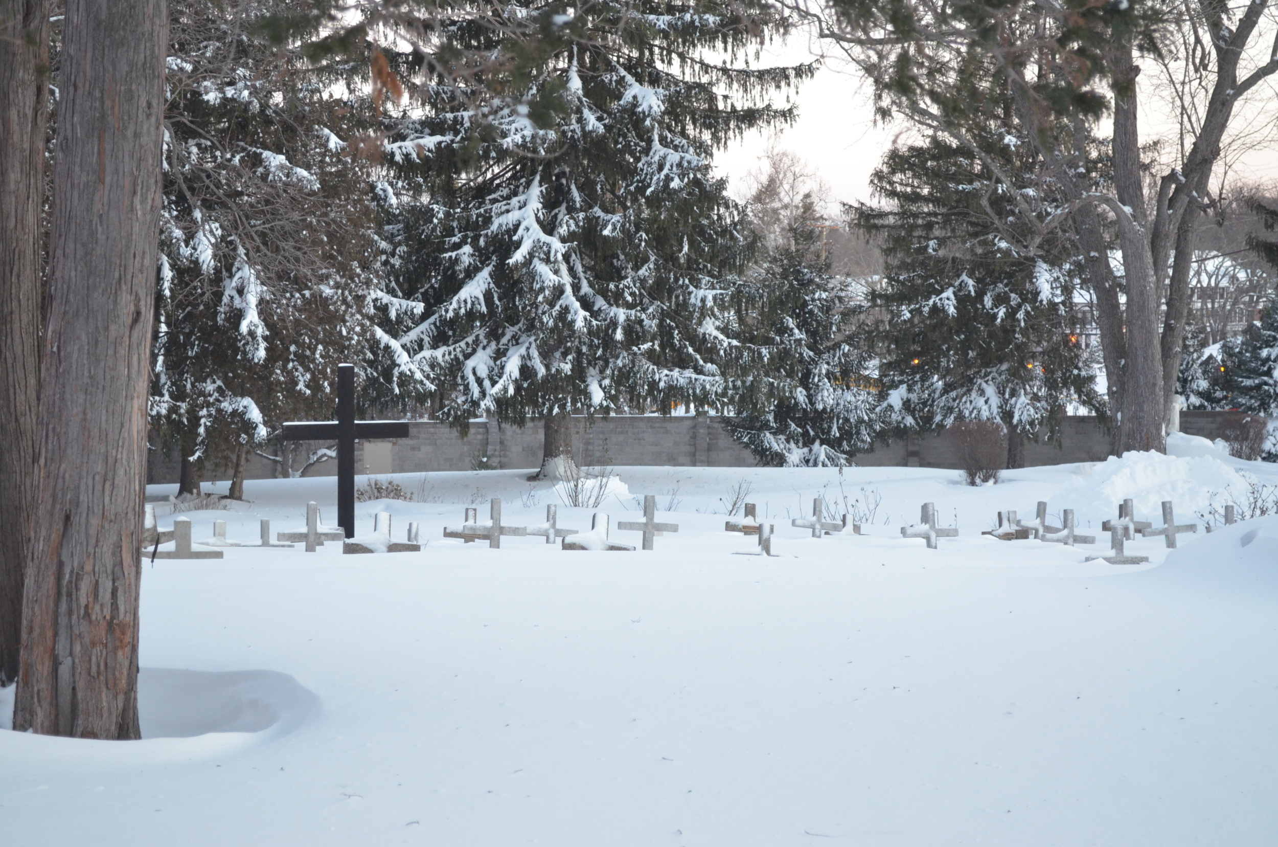 The cemetery crosses are always good markers of the depth of the snowfall!