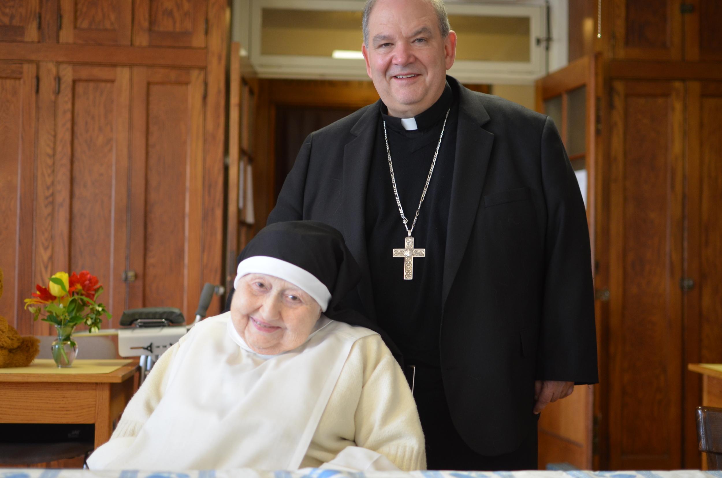 Sr. Mary Daniel with Archbishop Hebda
